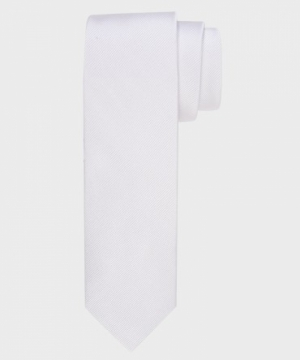 100% Zijde slim fit-5 cm breed wit
