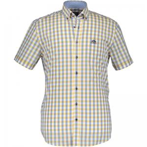 Ruitjeshemd +knoopjes ad kraag logo