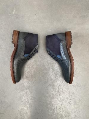 Boot croco+leder Donker blauw