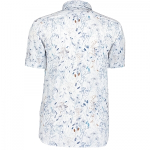 Blauwe bloemenprint 1157 wit